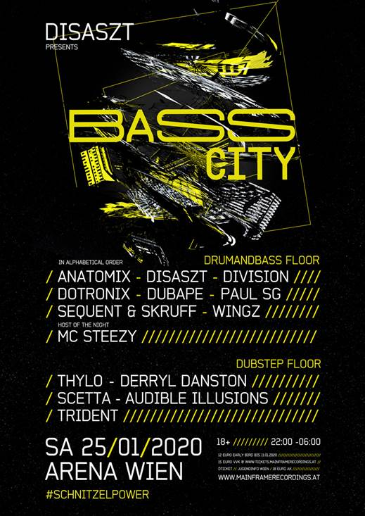 25/01/2020 – Mainframe Recordings & DisasZt pres BassCity at Arena Wien
